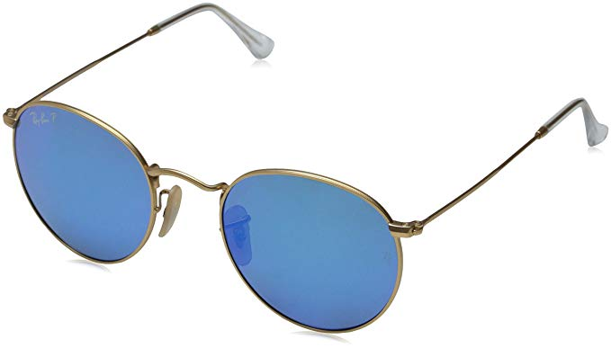 Ray-Ban ROUND METAL - MATTE GOLD Frame BLUE MIRROR POLAR Lenses 50mm Polarized
